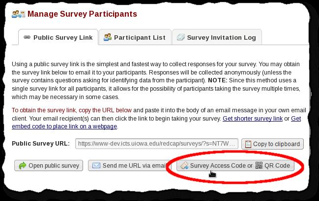 Survey Access Codes or QR Codes - REDCap Documentation - UIowa Wiki