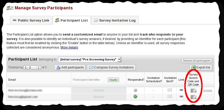 Survey Access Codes or QR Codes - REDCap Documentation