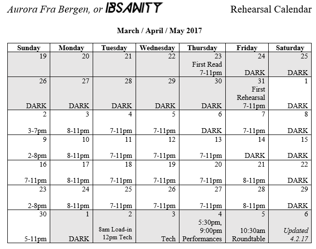 IBSANITY Rehearsal Calendar   Theatre Arts   UIowa Wiki