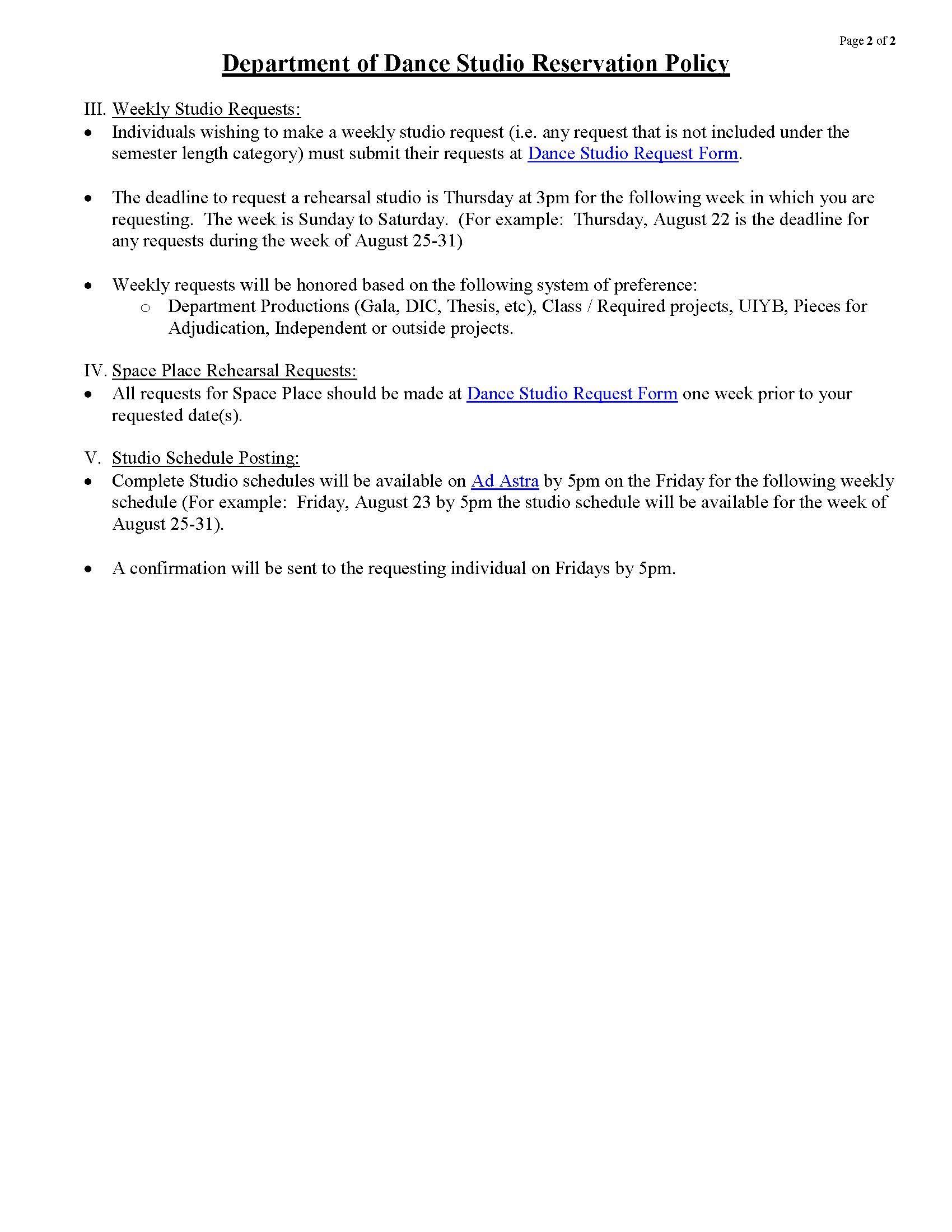 Studio Reservation Policy - Department of Dance - UIowa Wiki