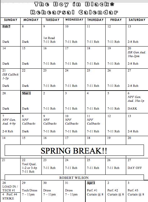 bib rehearsal calendar - theatre arts