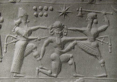 Gilgamesh und Enkidu töten Humbaba