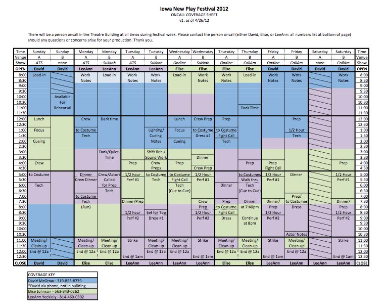 npf on-call schedule - theatre arts