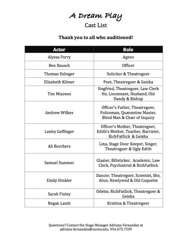 A Dream Play Cast List