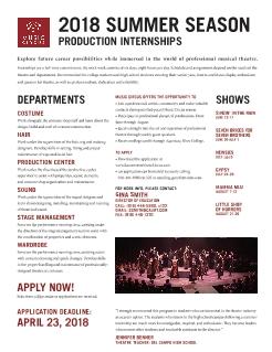 2018 Music Circus Internships and Fellowships - Theatre Arts